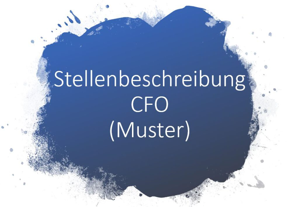 Stellenbeschreibung CFO Muster